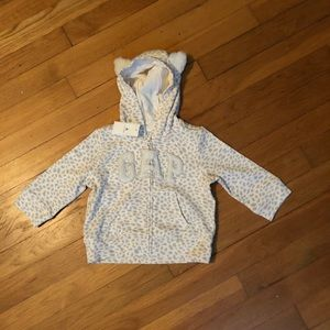 NWT Baby Gap Girls' Hoodie White Leopard Print